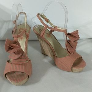 Seychelles Coral and Green Ruffle Espadrilles - size 7